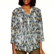 Liz Claiborne® Long-Sleeve Pleated-Front Print Blouse