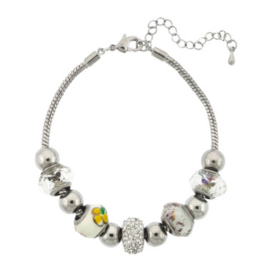 jcpenney.com | Dazzling Designs™ Silver-Plated Artisan Glass Bead Bracelet