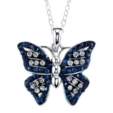 jcpenney.com | Crystal Sophistication™ Pure Silver-Plated Blue & Clear Crystal Butterfly Pendant Necklace