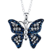 Pure Silver-Plated Blue & Clear Crystal Butterfly Pendant Necklace