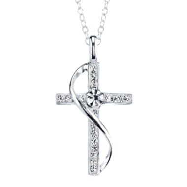 jcpenney.com | Crystal Sophistication™ Pure Silver-Plated Crystal-Accent Cross Pendant Necklace