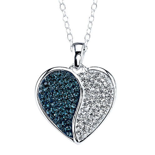 Crystal Sophistication™ Blue & Clear Crystal-Accent Yin-Yang Heart Pendant Necklace
