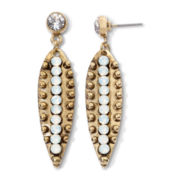 Decree® Antiqued Gold-Tone & Rhinestone Drop Earrings
