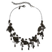 Aris by Treska Jet-Tone Bead Illusion Bib Necklace