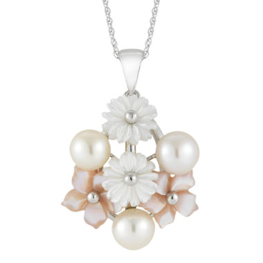 jcpenney.com | Cultured Freshwater Pearl & Mother-Of-Pearl Floral Pendant Necklace