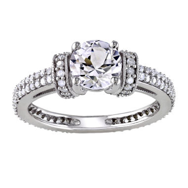T.W. Diamond & Lab-Created White Sapphire Engagement