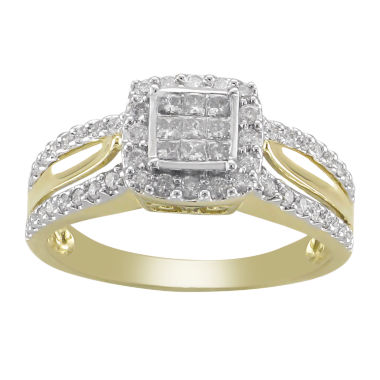 jcpenney.com | 1/2 CT. T.W. Princess Diamond 10K Gold Engagement Ring