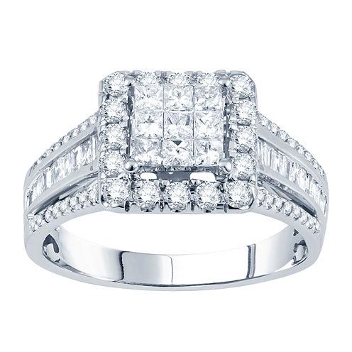1 CT. T.W. Princess Diamond Deco-Style Engagement Ring