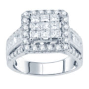 2 CT. T.W. Princess Diamond Deco-Style Engagement Ring