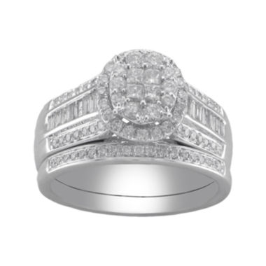 jcpenney.com | Cherished Hearts™ 1 CT. T.W. Certified Diamond Princess-Cut and Round Bridal Ring Set