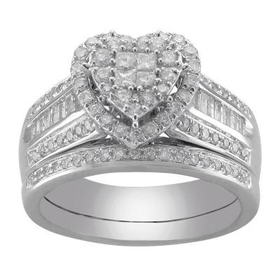 Wonderful Cherished Hearts™ 1 CT. T.W. Certified Diamond Heart Bridal Ring Set