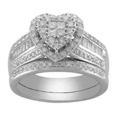 jcpenney.com | Cherished Hearts™ 1 CT. T.W. Certified Diamond Heart Bridal Ring Set