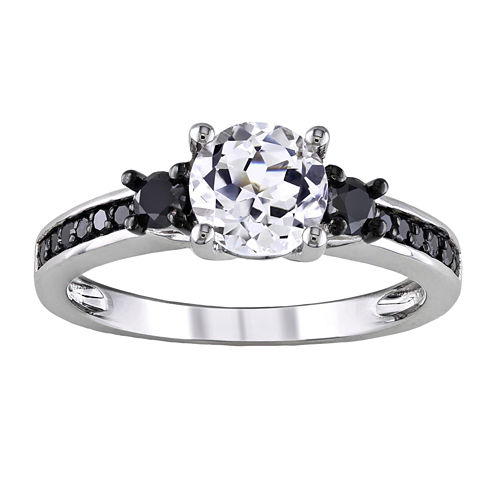 ⅓ CT. T.W. Heat-Treated Black Diamond & Lab-Created Sapphire Engagement Ring