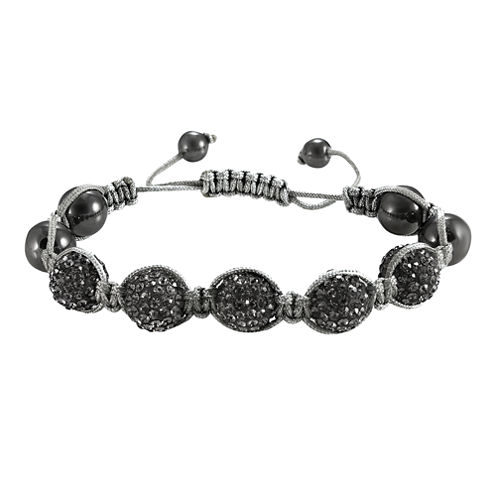 Men's Hematite & Two-Tone Crystal Bracelet