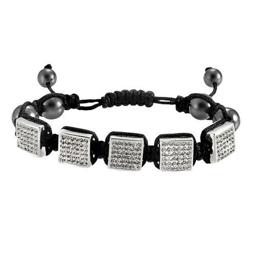 Men's Stainless Steel Crystal & Bead Bracelet