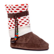 MUK LUKS® Sophia Knit Cuff Boot Slippers