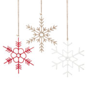 MarthaHoliday™ Winter Hearth Set of 3 Wrapped Snowflake Ornaments