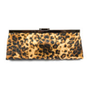 Gunne Sax By Jessica McClintock Leopard Pleated Satin Frame Clutch