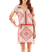 Bisou Bious® 3/4-Sleeve Shift Print Dress