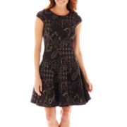 Danny & Nicole® Short-Sleeve Paisley Print Fit-and-Flare Dress