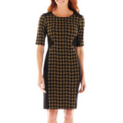 Danny & Nicole® Elbow-Sleeve Houndstooth Sheath Dress