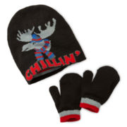 Moose Chillin' Reversible Knit Hat and Mittens Set - Toddler Boys One Size