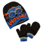 Vroom Reversible Knit Hat and Mitten Set - Toddler Boys One Size
