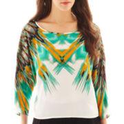 Bisou Bisou® Kimono-Sleeve Crop Top