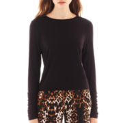 Bisou Bisou® Shirred-Sleeve Crop Top