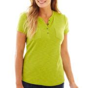 Liz Claiborne® Short-Sleeve Slub Henley Tee