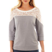 a.n.a® 3/4-Sleeve Lace-Neck Sweatshirt