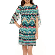 Alyx® Tulip-Sleeve Chevron Print Shift Dress - Petite