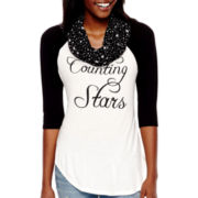Self-Esteem® Raglan-Sleeve Graphic Top with Scarf