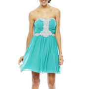 City Triangles® Strapless Embellished Short Dress