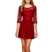 Heart & Soul® 3/4-Sleeve Crochet Skater Dress