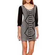 Heart & Soul® Elbow-Sleeve Chiffon A-Line Necklace Dress