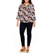 Stylus™ Popover Peasant Top or Skinny Jeans - Plus