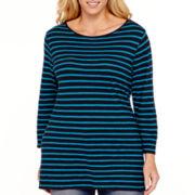 Stylus™ 3/4-Sleeve Striped Boatneck T-Shirt - Plus