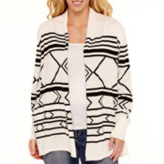Stylus™ Long-Sleeve Intarsia Flyaway Cardigan Sweater - Plus