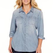 Stylus™ Long-Sleeve Boyfriend Denim Shirt - Plus