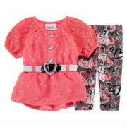Little Lass Sparkle Top and Leggings - Baby Girls 3m-24m