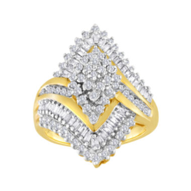 jcpenney.com | 1 CT. T.W. Diamond 10K Yellow Gold Marquise-Shaped Cocktail Ring