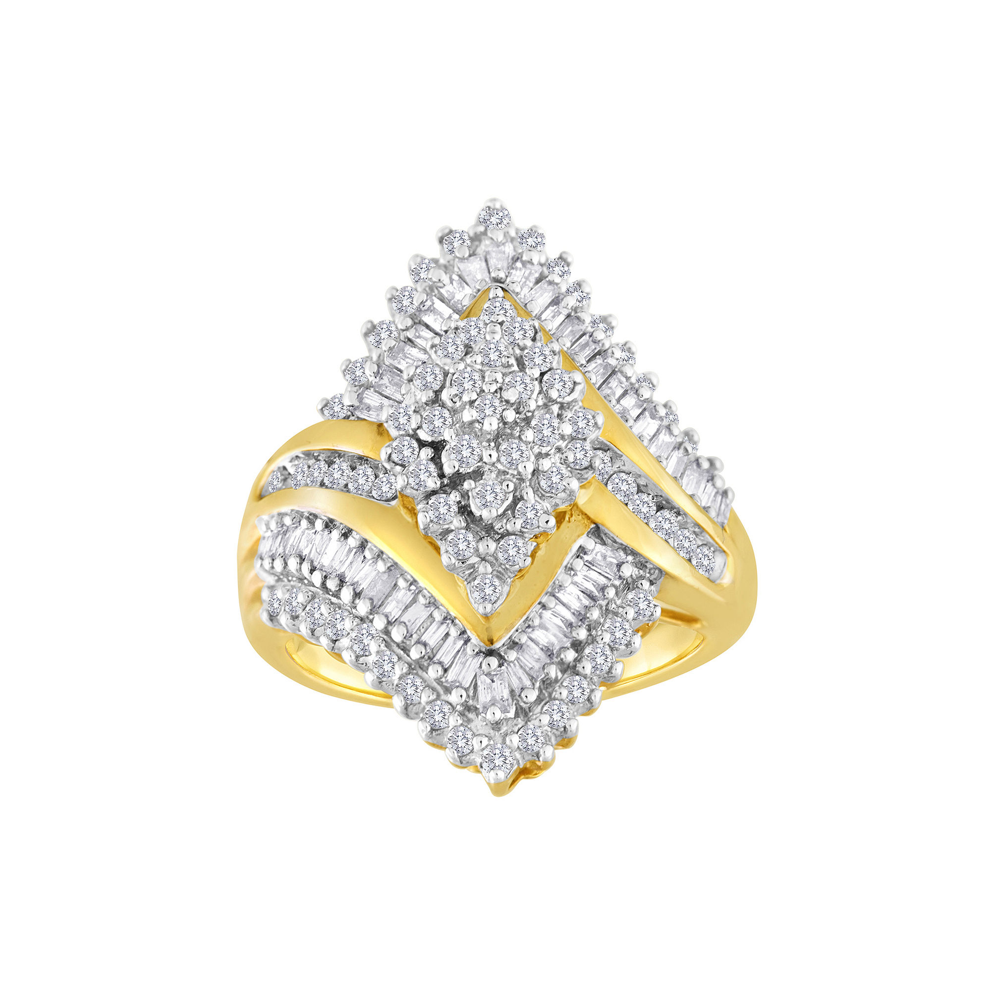 1 CT. T.W. Diamond 10K Yellow Gold Marquise-Shaped Cocktail Ring