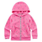 Okie Dokie® Heart-Print Fleece Hoodie - Toddler Girls 2t-5t
