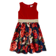 Lavender Ruby Red Floral Shantung Dress - Preschool Girls 4-6x