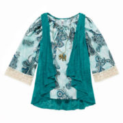 Knit Works Peasant Top, Cozy and Necklace - Girls 7-16