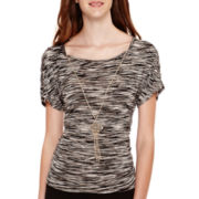 by&by Elbow-Sleeve Space-Dyed Side-Shirred Necklace Top