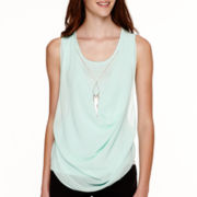 by&by Sleeveless Woven Knit Drape-Front Necklace Top