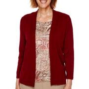 Alfred Dunner® Villa d'Este 3/4-Sleeve Ruffle Layered Sweater - Petite