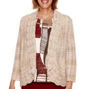 Alfred Dunner® Villa d'Este 3/4-Sleeve Pointelle Cardigan Sweater - Petite
